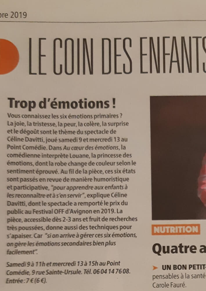 Au coeur des émotions - Article Gazette Le Point Comedie Théatre Montpellier