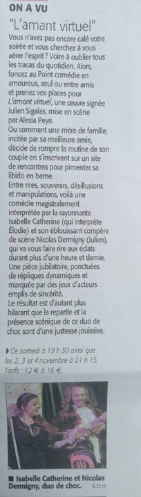 Article Midi libre Le Point Comedie - Théatre Montpellier - Amant Virtuel