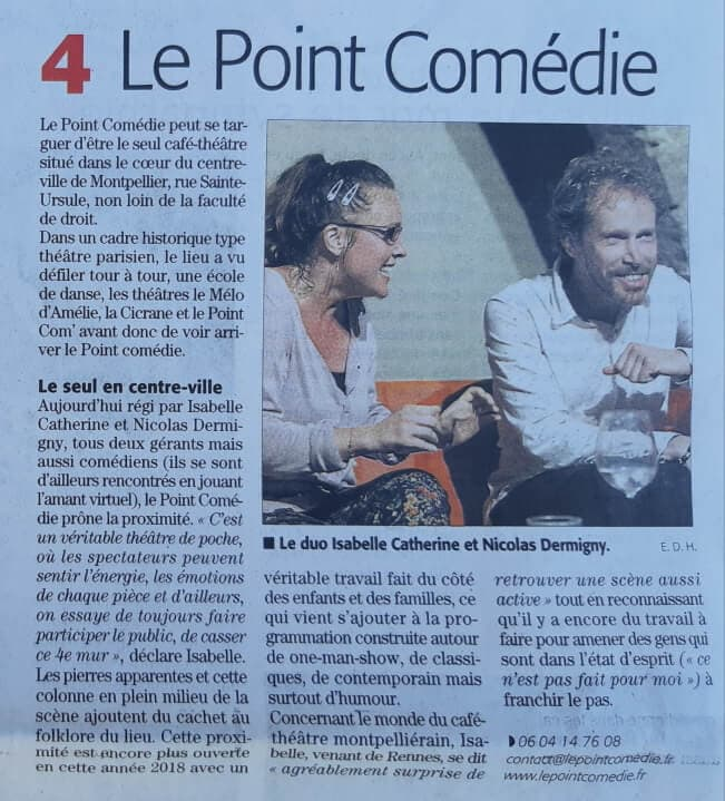 Le Point Comedie Article Midi Libre sur cafe-theatre -Théatre Montpellier