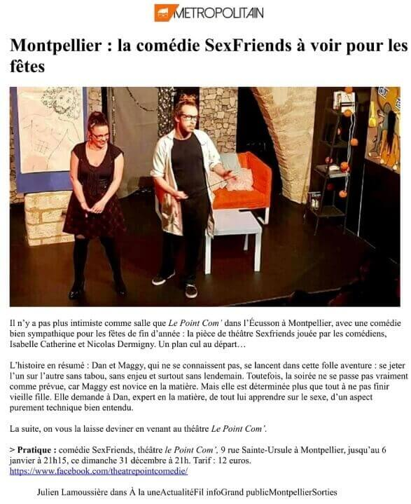 Sexfriends Article Metropolitain Le Point Comedie - Théatre Montpellier