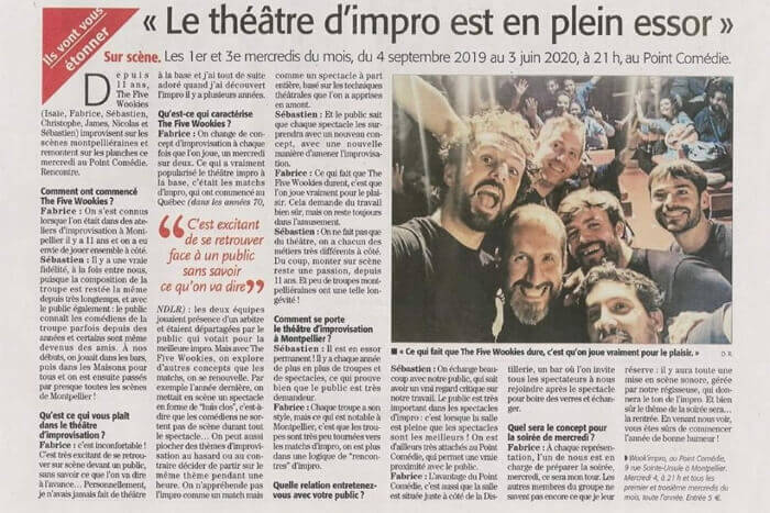 Wookies - Article Midi Libre Le Point Comedie - Théatre Montpellier